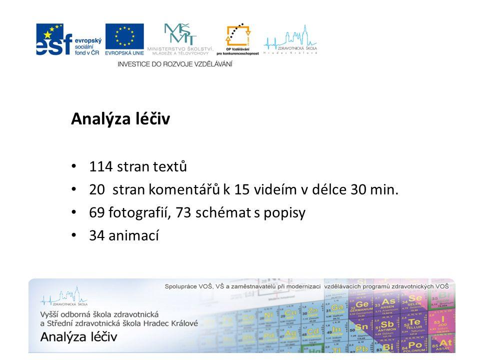 Analýza léčiv 114 stran textů 20 stran komentářů k 15 videím v délce 30 min. 69 fotografií, 73 schémat s popisy 34 animací