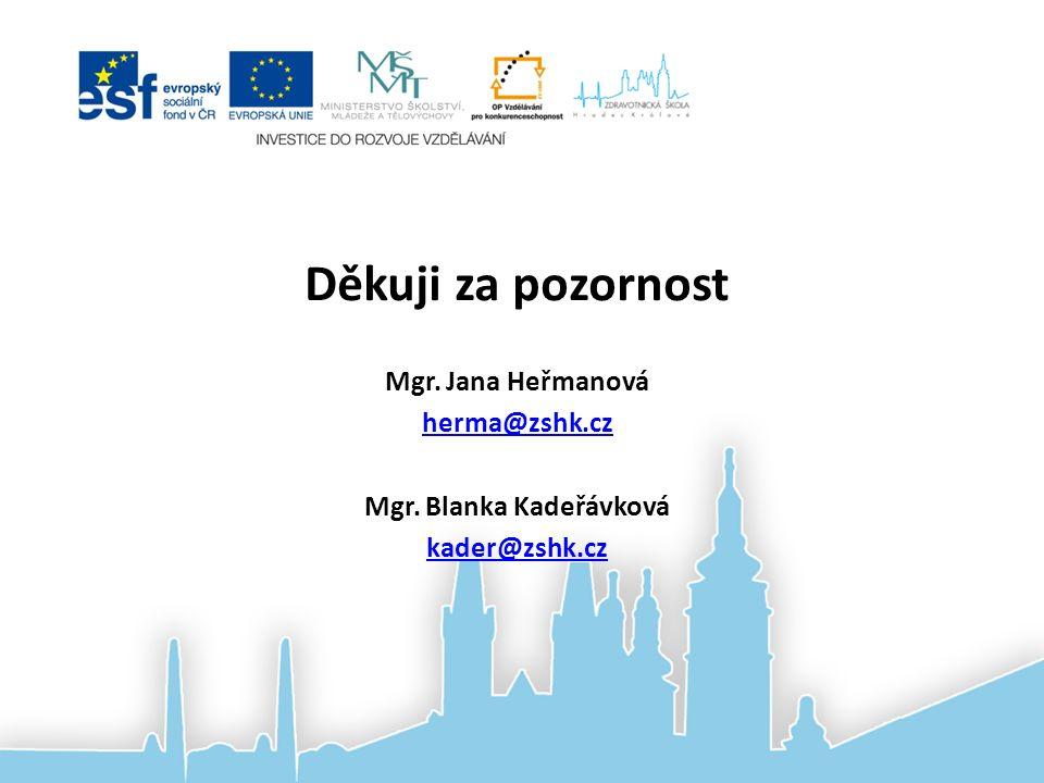 Děkuji za pozornost Mgr. Jana Heřmanová herma@zshk.cz Mgr. Blanka Kadeřávková kader@zshk.cz