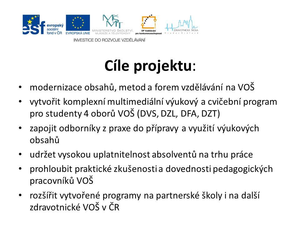 Cíle projektu: modernizace obsahů, metod a forem vzdělávání na VOŠ vytvořit komplexní multimediální výukový a cvičební program pro studenty 4 oborů VO
