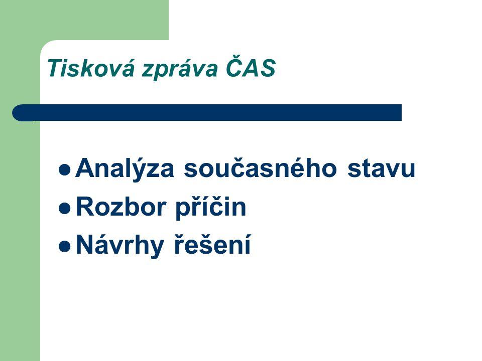 Tisková zpráva ČAS Analýza současného stavu Rozbor příčin Návrhy řešení