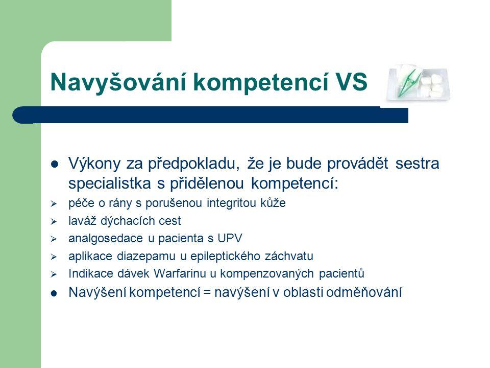 Navyšování kompetencí VS Výkony za předpokladu, že je bude provádět sestra specialistka s přidělenou kompetencí:  péče o rány s porušenou integritou kůže  laváž dýchacích cest  analgosedace u pacienta s UPV  aplikace diazepamu u epileptického záchvatu  Indikace dávek Warfarinu u kompenzovaných pacientů Navýšení kompetencí = navýšení v oblasti odměňování
