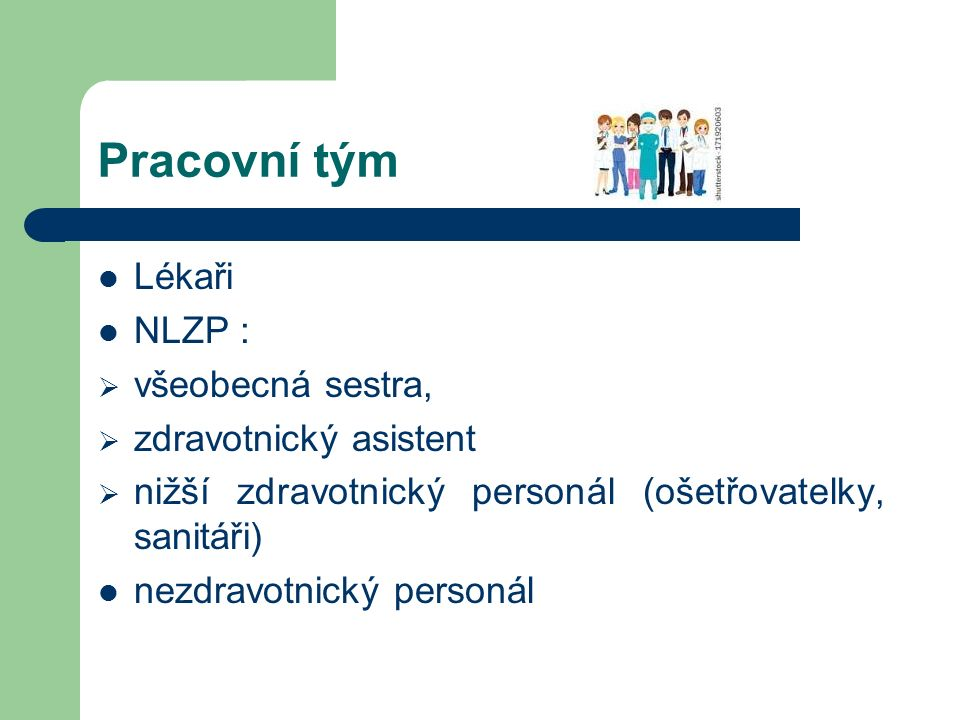 Pracovní tým Lékaři NLZP :  všeobecná sestra,  zdravotnický asistent  nižší zdravotnický personál (ošetřovatelky, sanitáři) nezdravotnický personál