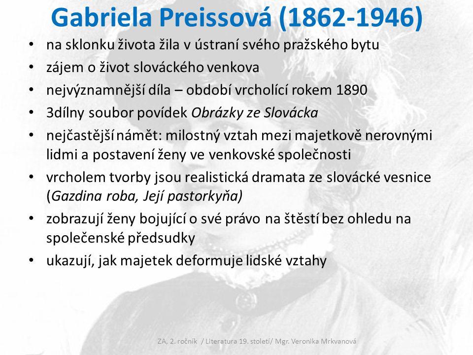 Gabriela Preissová (1862-1946) Zajímavost: G.