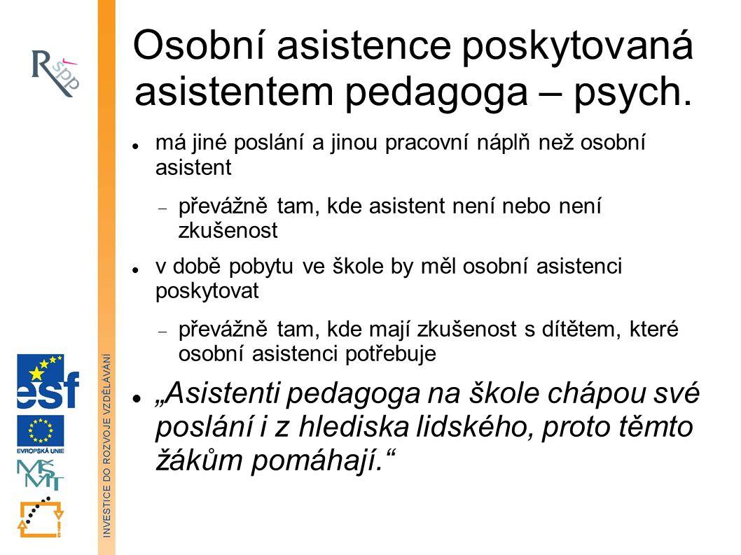 Osobní asistence poskytovaná asistentem pedagoga – psych.