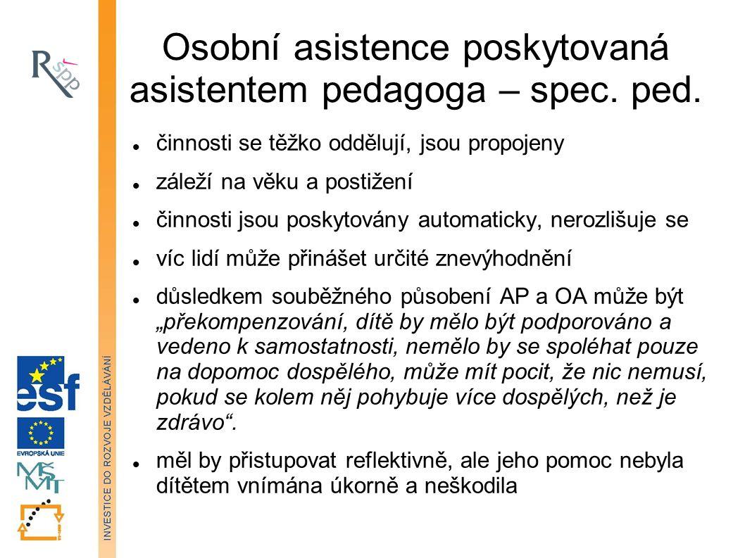 Osobní asistence poskytovaná asistentem pedagoga – spec.