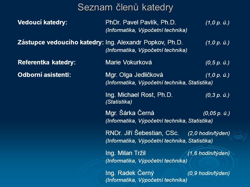 Seznam členů katedry Vedoucí katedry:PhDr. Pavel Pavlík, Ph.D. (1,0 p. ú.) (Informatika, Výpočetní technika) Zástupce vedoucího katedry:Ing. Alexandr