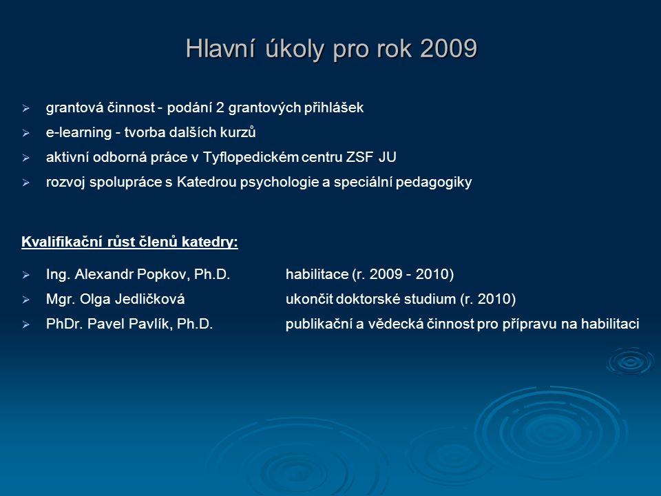 Hlavní úkoly pro rok 2009   grantová činnost - podání 2 grantových přihlášek   e-learning - tvorba dalších kurzů   aktivní odborná práce v Tyflo