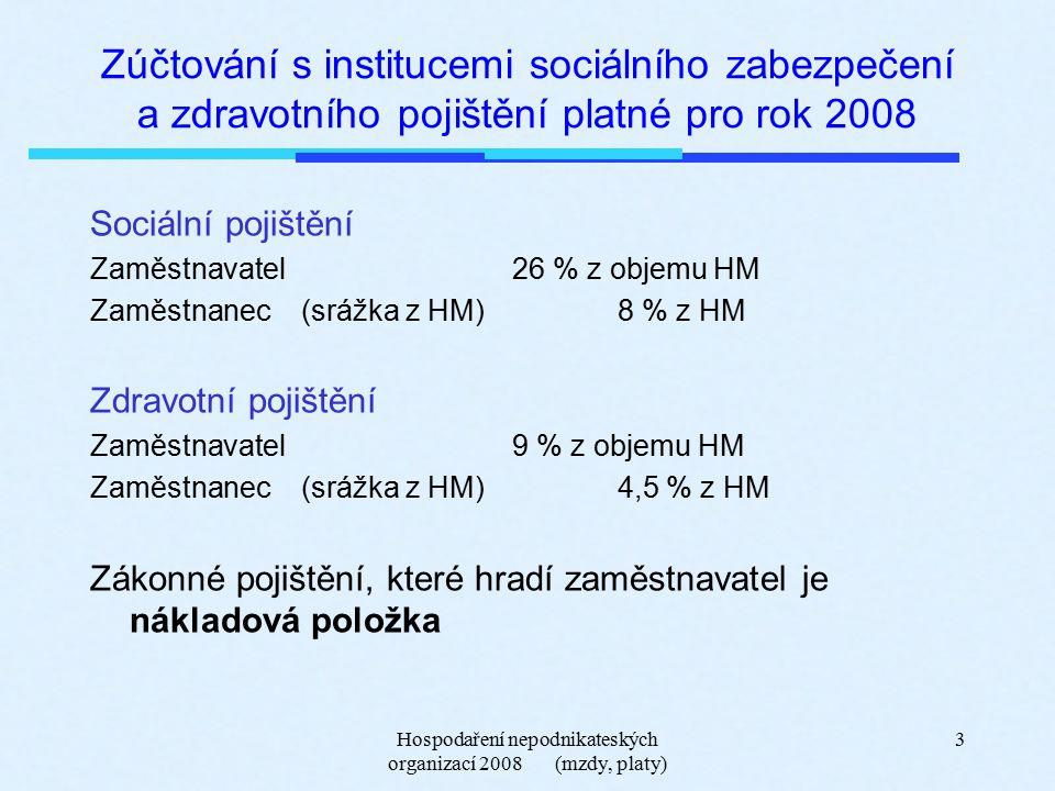 Hospodaření nepodnikateských organizací 2008 (mzdy, platy) 3 Zúčtování s institucemi sociálního zabezpečení a zdravotního pojištění platné pro rok 2008 Sociální pojištění Zaměstnavatel 26 % z objemu HM Zaměstnanec(srážka z HM)8 % z HM Zdravotní pojištění Zaměstnavatel 9 % z objemu HM Zaměstnanec(srážka z HM)4,5 % z HM Zákonné pojištění, které hradí zaměstnavatel je nákladová položka