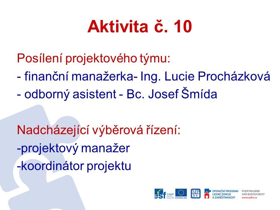 Aktivita č. 10 Posílení projektového týmu: - finanční manažerka- Ing.