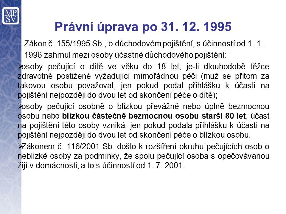 Právní úprava po 31. 12. 1995 Zákon č. 155/1995 Sb., o důchodovém pojištění, s účinností od 1.