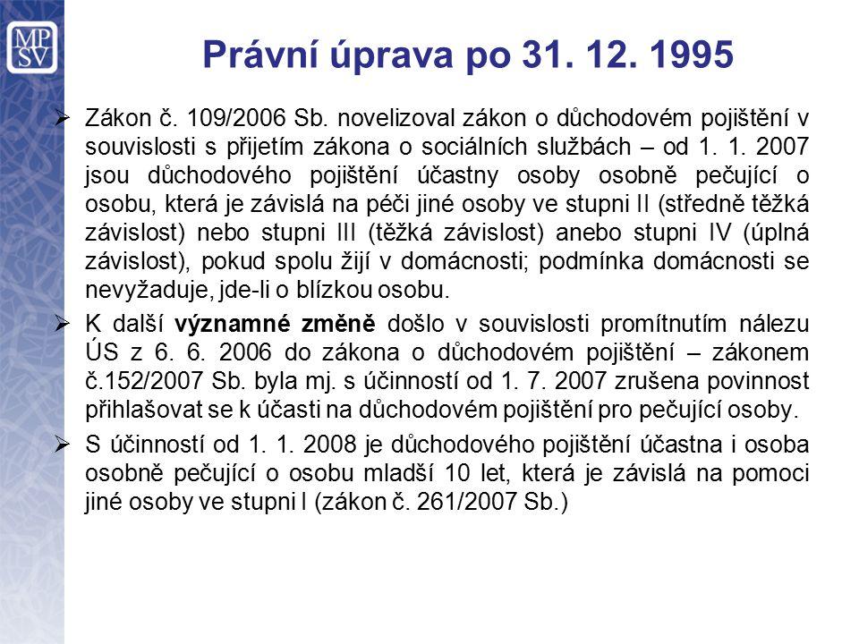 Právní úprava po 31. 12. 1995  Zákon č. 109/2006 Sb.