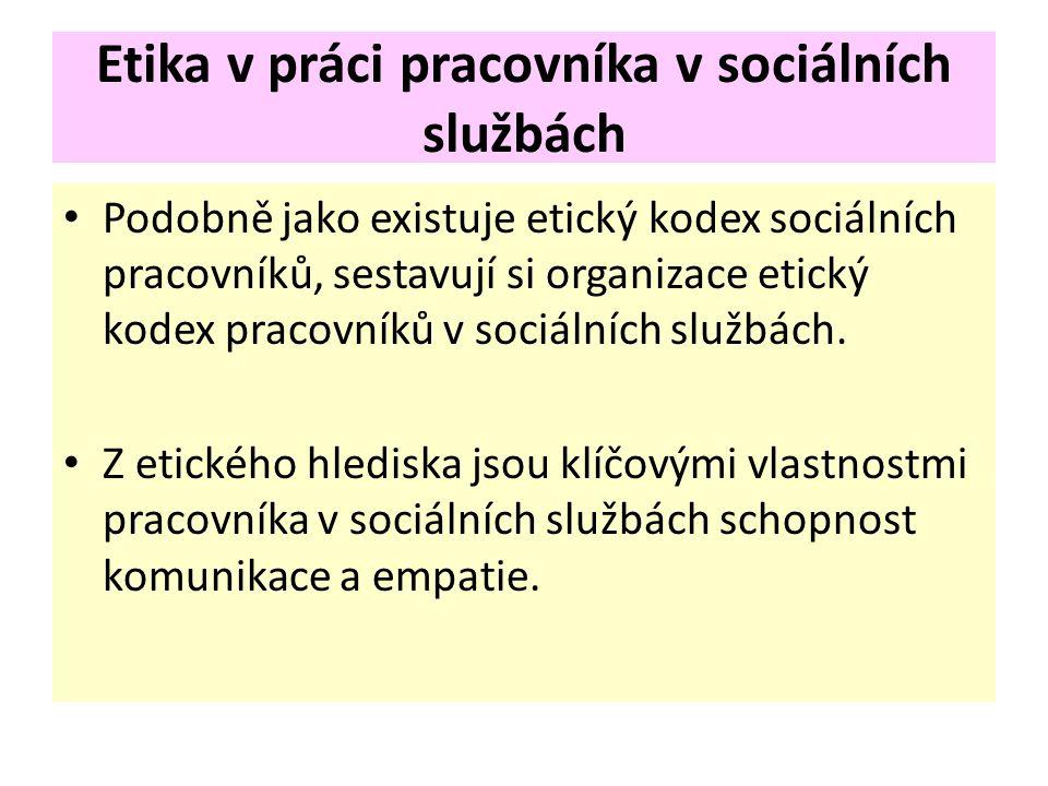 Etika v práci pracovníka v sociálních službách Podobně jako existuje etický kodex sociálních pracovníků, sestavují si organizace etický kodex pracovníků v sociálních službách.