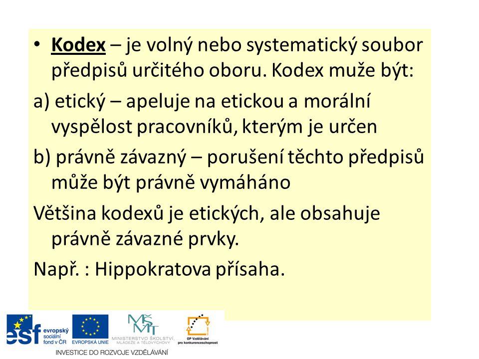 Kodex – je volný nebo systematický soubor předpisů určitého oboru. Kodex muže být: a) etický – apeluje na etickou a morální vyspělost pracovníků, kter