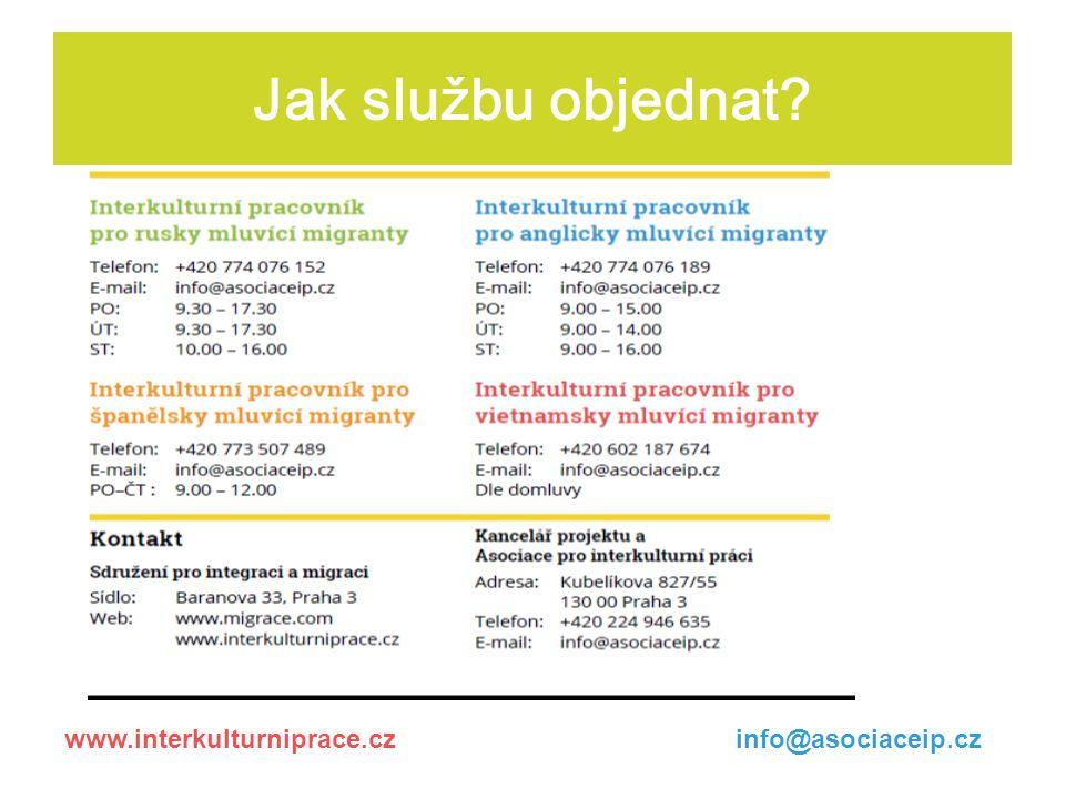 Jak službu objednat www.interkulturniprace.czinfo@asociaceip.cz