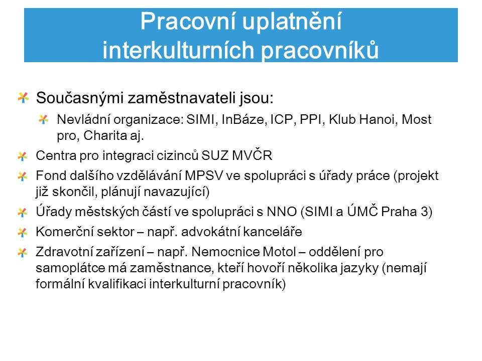 Pracovní uplatnění interkulturních pracovníků Současnými zaměstnavateli jsou: Nevládní organizace: SIMI, InBáze, ICP, PPI, Klub Hanoi, Most pro, Charita aj.