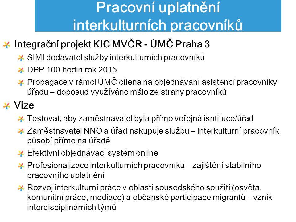 Pracovní uplatnění interkulturních pracovníků Integrační projekt KIC MVČR - ÚMČ Praha 3 SIMI dodavatel služby interkulturních pracovníků DPP 100 hodin rok 2015 Propagace v rámci ÚMČ cílena na objednávání asistencí pracovníky úřadu – doposud využíváno málo ze strany pracovníků Vize Testovat, aby zaměstnavatel byla přímo veřejná isntituce/úřad Zaměstnavatel NNO a úřad nakupuje službu – interkulturní pracovník působí přímo na úřadě Efektivní objednávací systém online Profesionalizace interkulturních pracovníků – zajištění stabilního pracovního uplatnění Rozvoj interkulturní práce v oblasti sousedského soužití (osvěta, komunitní práce, mediace) a občanské participace migrantů – vznik interdisciplinárních týmů