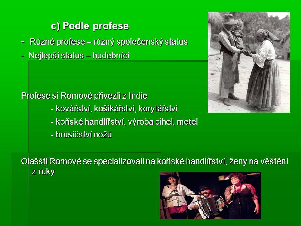 c) Podle profese - Různé profese – různý společenský status - Nejlepší status – hudebníci Profese si Romové přivezli z Indie - kovářství, košíkářství, korytářství - koňské handlířství, výroba cihel, metel - brusičství nožů Olašští Romové se specializovali na koňské handlířství, ženy na věštění z ruky