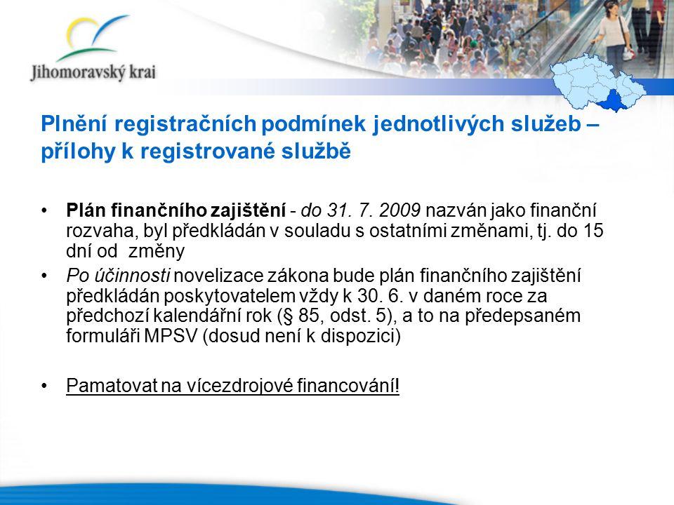 Plnění registračních podmínek jednotlivých služeb – přílohy k registrované službě Plán finančního zajištění - do 31.