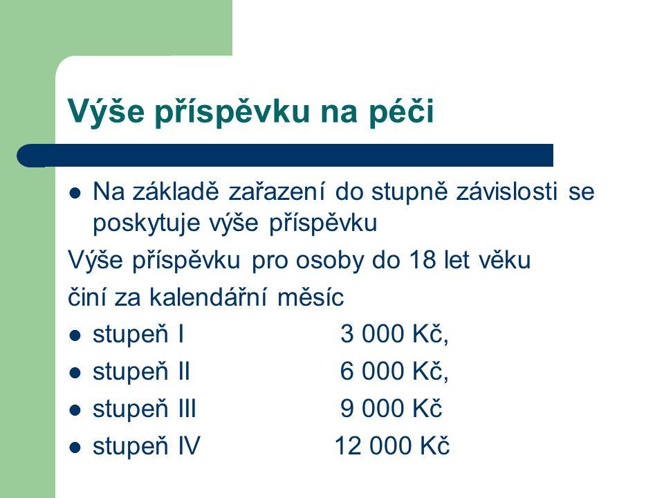 Výše příspěvku na péči Na základě zařazení do stupně závislosti se poskytuje výše příspěvku Výše příspěvku pro osoby do 18 let věku činí za kalendářní měsíc stupeň I 3 000 Kč, stupeň II 6 000 Kč, stupeň III 9 000 Kč stupeň IV 12 000 Kč