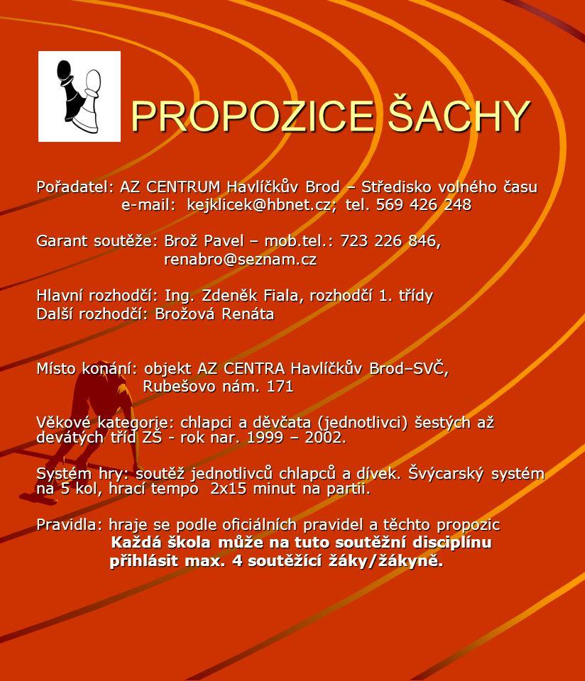 PROPOZICE ŠACHY PROPOZICE ŠACHY Pořadatel: AZ CENTRUM Havlíčkův Brod – Středisko volného času e-mail: kejklicek@hbnet.cz; tel. 569 426 248 e-mail: kej