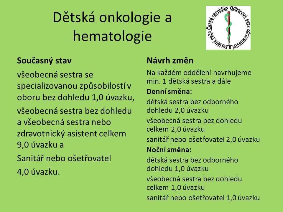 Dětská onkologie a hematologie Současný stav všeobecná sestra se specializovanou způsobilostí v oboru bez dohledu 1,0 úvazku, všeobecná sestra bez dohledu a všeobecná sestra nebo zdravotnický asistent celkem 9,0 úvazku a Sanitář nebo ošetřovatel 4,0 úvazku.