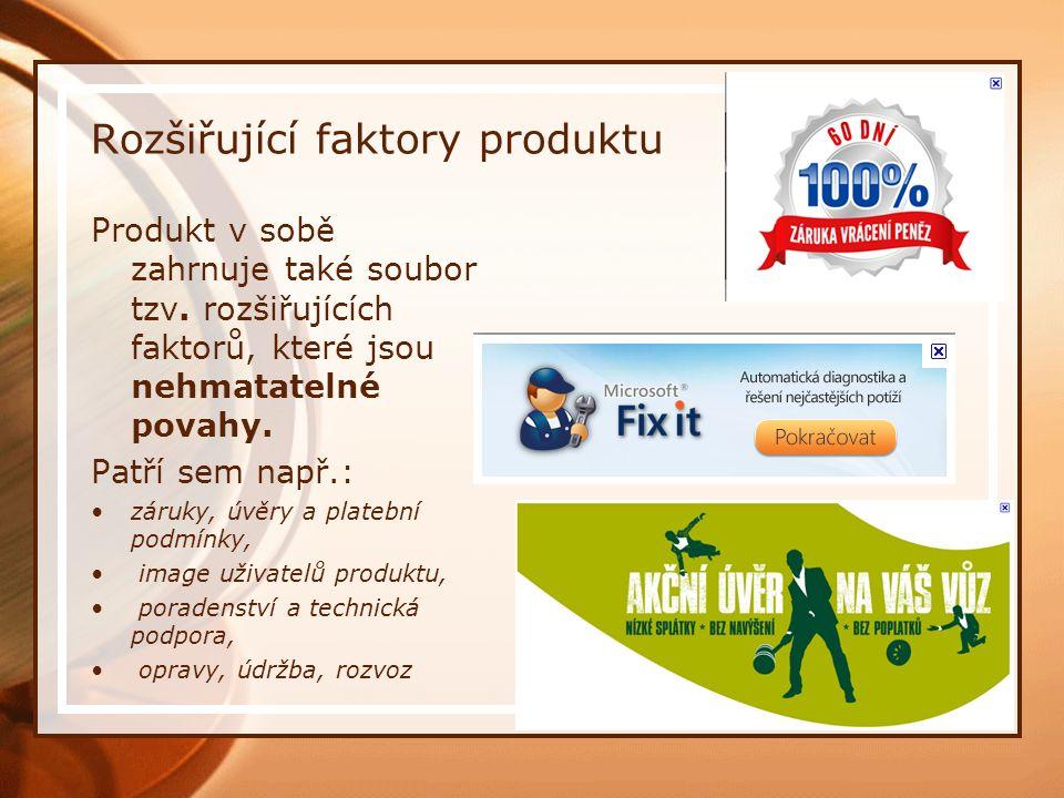 Rozšiřující faktory produktu Produkt v sobě zahrnuje také soubor tzv.