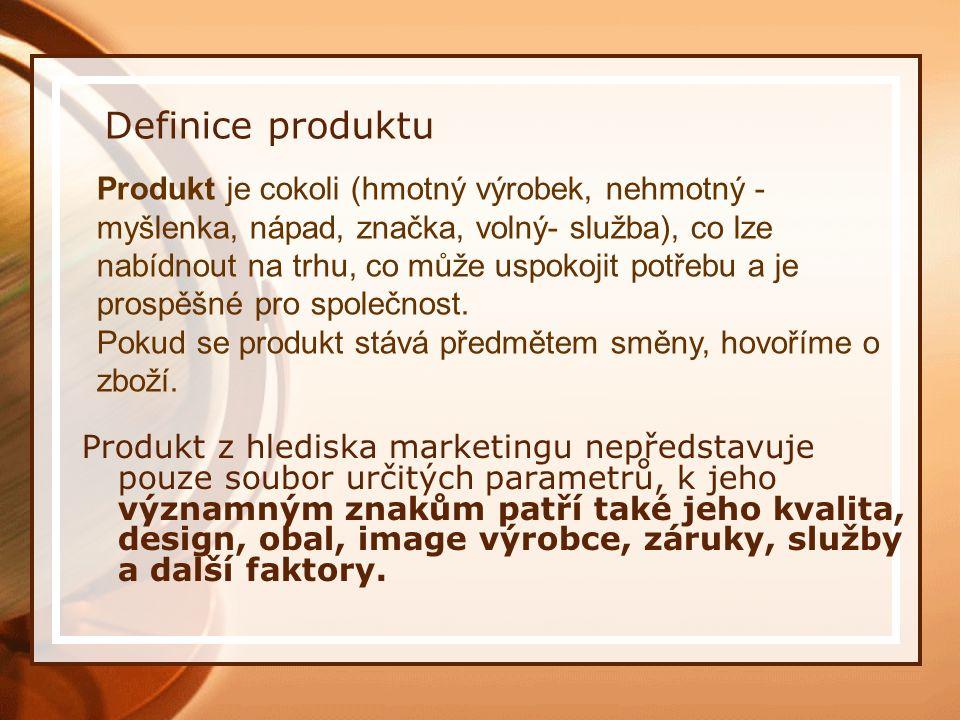 Definice produktu Produkt z hlediska marketingu nepředstavuje pouze soubor určitých parametrů, k jeho významným znakům patří také jeho kvalita, design, obal, image výrobce, záruky, služby a další faktory.