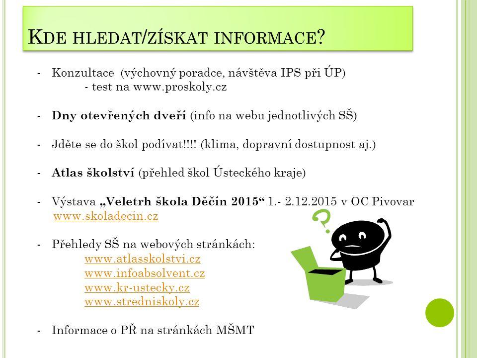 K DE HLEDAT / ZÍSKAT INFORMACE ? -Konzultace (výchovný poradce, návštěva IPS při ÚP) - test na www.proskoly.cz - Dny otevřených dveří (info na webu je