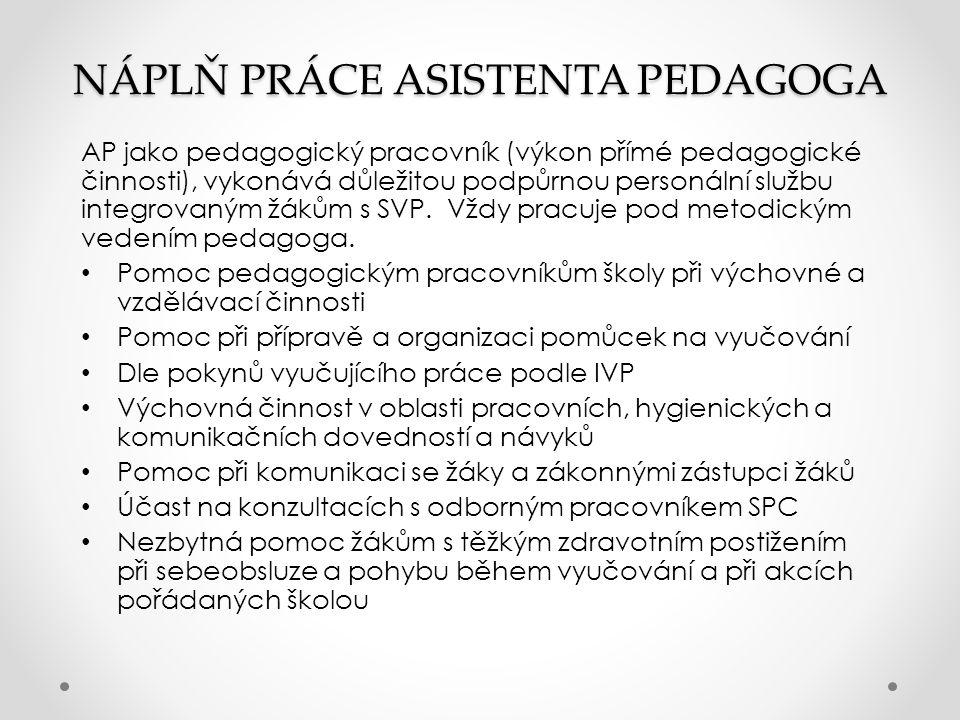 NÁPLŇ PRÁCE ASISTENTA PEDAGOGA AP jako pedagogický pracovník (výkon přímé pedagogické činnosti), vykonává důležitou podpůrnou personální službu integrovaným žákům s SVP.