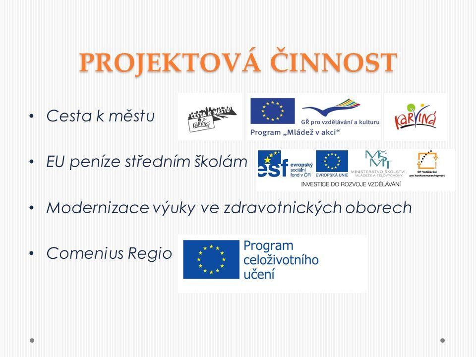 PROJEKTOVÁ ČINNOST Cesta k městu EU peníze středním školám Modernizace výuky ve zdravotnických oborech Comenius Regio