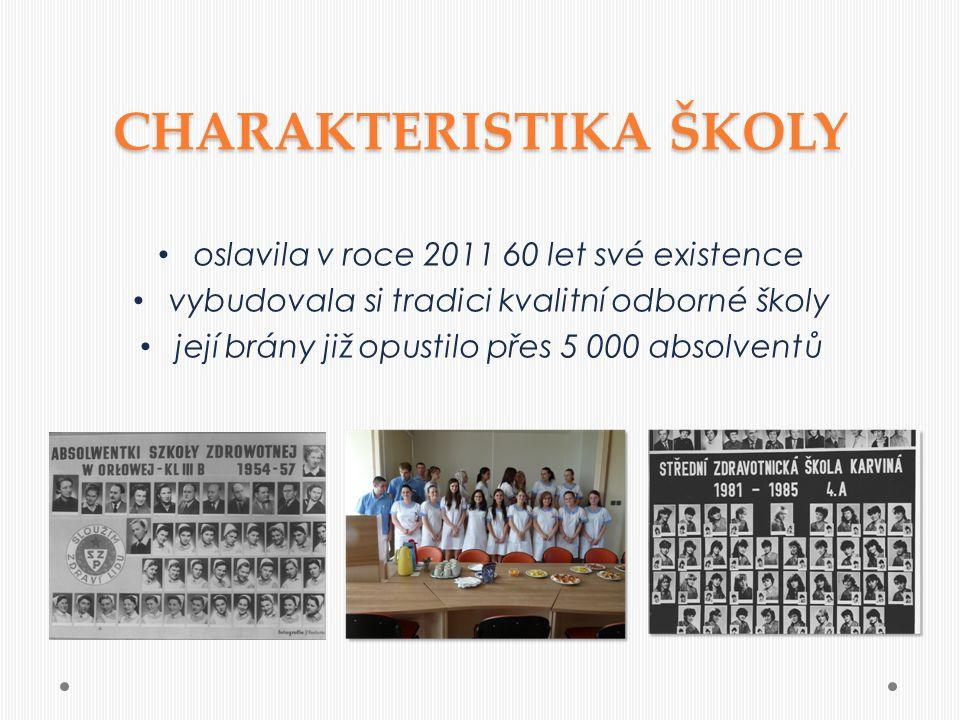 oslavila v roce 2011 60 let své existence vybudovala si tradici kvalitní odborné školy její brány již opustilo přes 5 000 absolventů CHARAKTERISTIKA ŠKOLY
