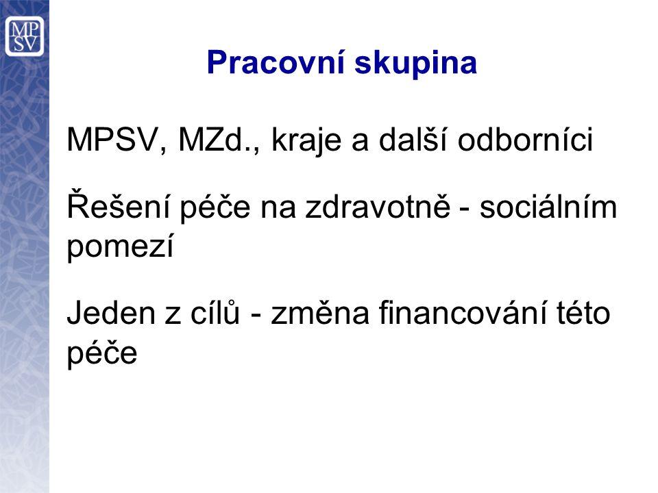 Pracovní skupina MPSV, MZd., kraje a další odborníci Řešení péče na zdravotně - sociálním pomezí Jeden z cílů - změna financování této péče