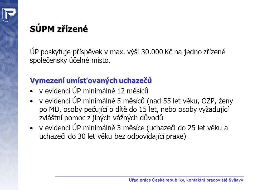 SÚPM zřízené ÚP poskytuje příspěvek v max. výši 30.000 Kč na jedno zřízené společensky účelné místo. Vymezení umísťovaných uchazečů v evidenci ÚP mini