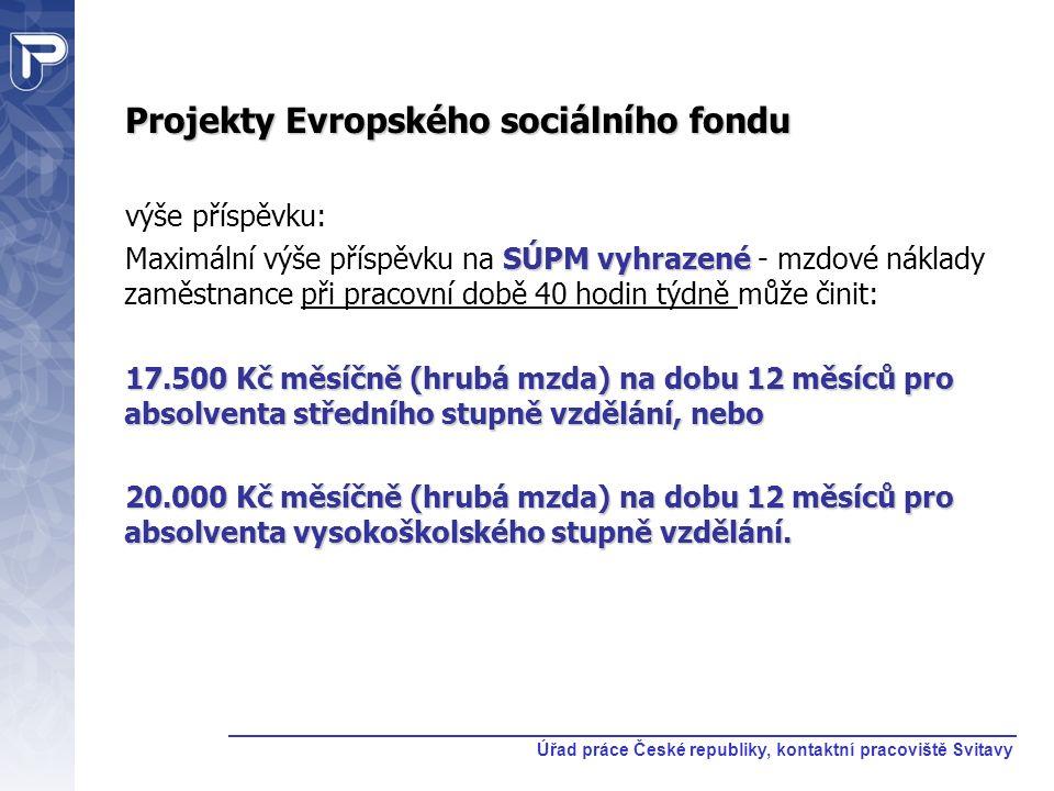 Projekty Evropského sociálního fondu výše příspěvku: SÚPM vyhrazené Maximální výše příspěvku na SÚPM vyhrazené - mzdové náklady zaměstnance při pracov