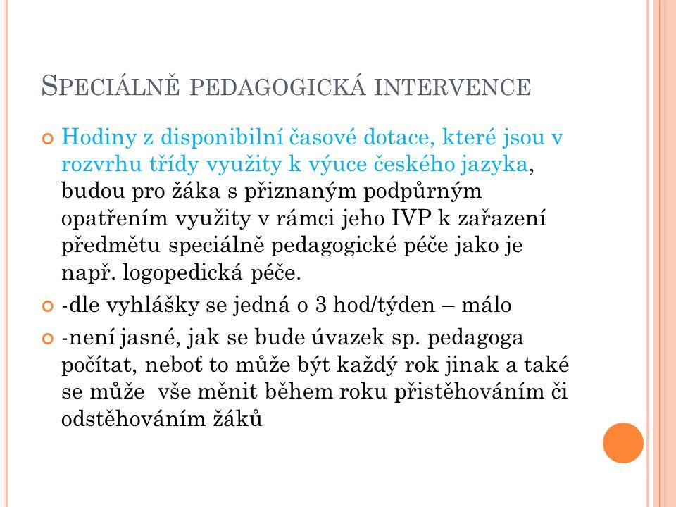 S PECIÁLNĚ PEDAGOGICKÁ INTERVENCE Hodiny z disponibilní časové dotace, které jsou v rozvrhu třídy využity k výuce českého jazyka, budou pro žáka s přiznaným podpůrným opatřením využity v rámci jeho IVP k zařazení předmětu speciálně pedagogické péče jako je např.
