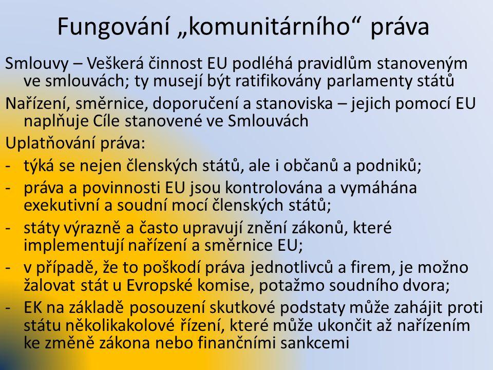 """Fungování """"komunitárního"""" práva Smlouvy – Veškerá činnost EU podléhá pravidlům stanoveným ve smlouvách; ty musejí být ratifikovány parlamenty států Na"""