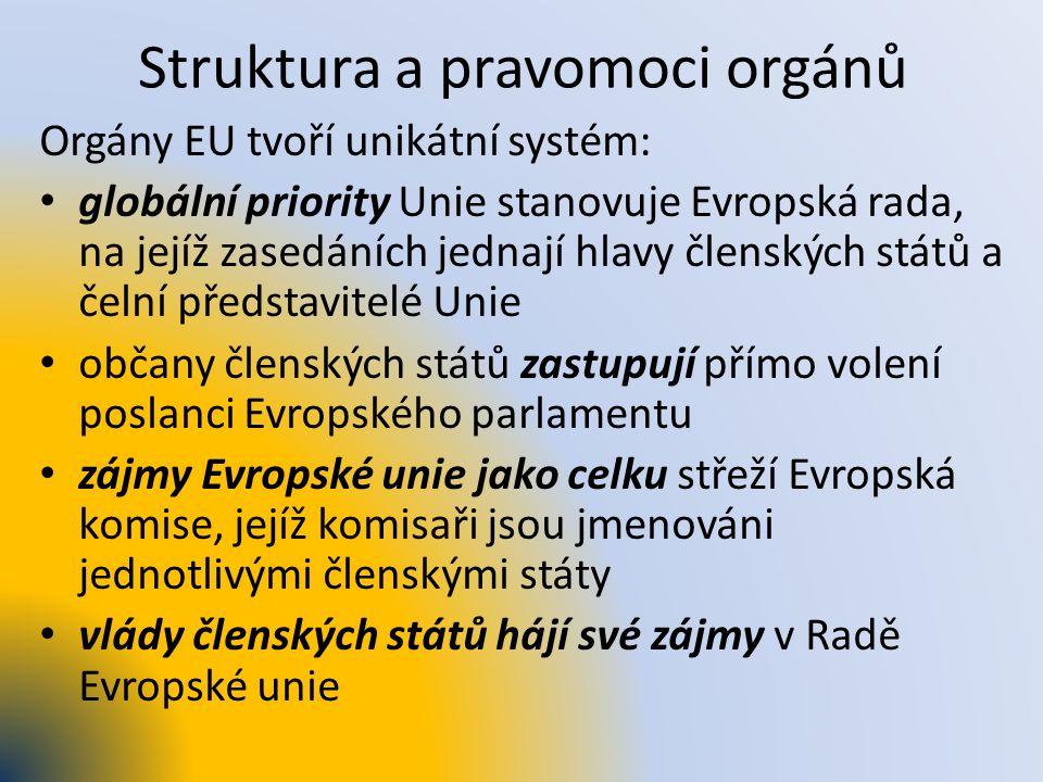 Struktura a pravomoci orgánů Orgány EU tvoří unikátní systém: globální priority Unie stanovuje Evropská rada, na jejíž zasedáních jednají hlavy člensk