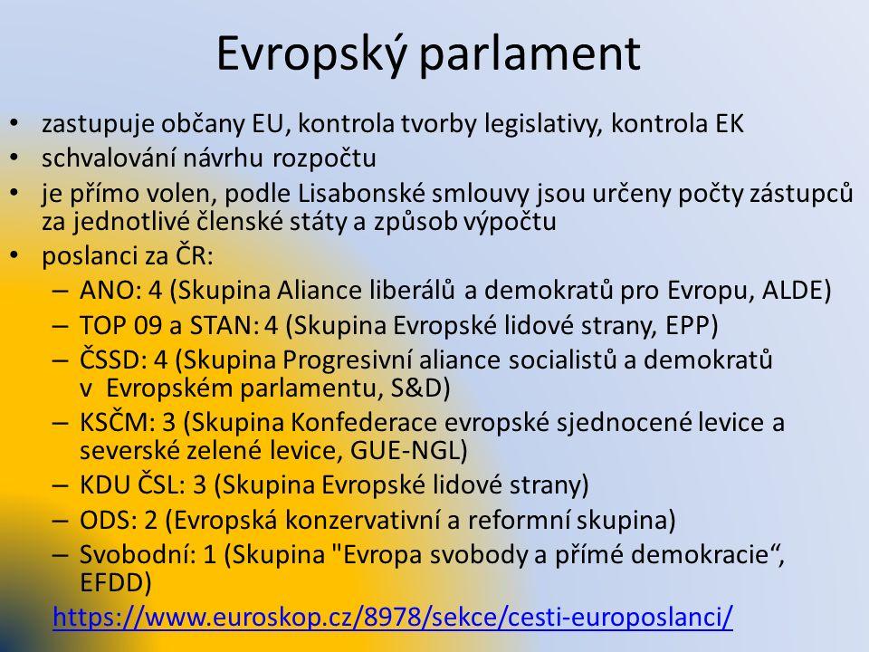 Evropský parlament zastupuje občany EU, kontrola tvorby legislativy, kontrola EK schvalování návrhu rozpočtu je přímo volen, podle Lisabonské smlouvy