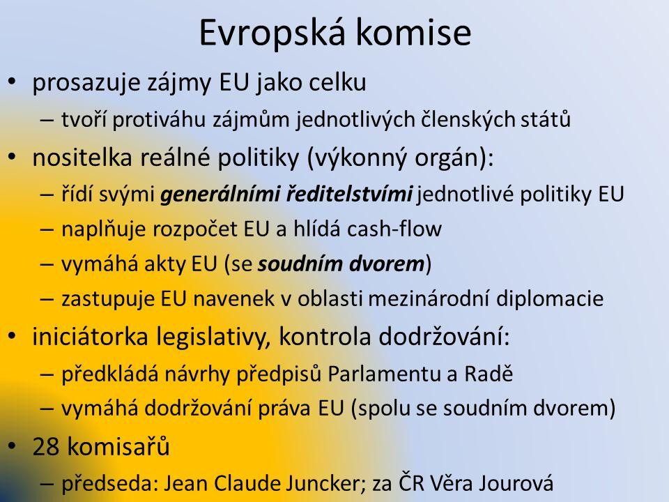 Evropská komise prosazuje zájmy EU jako celku – tvoří protiváhu zájmům jednotlivých členských států nositelka reálné politiky (výkonný orgán): – řídí