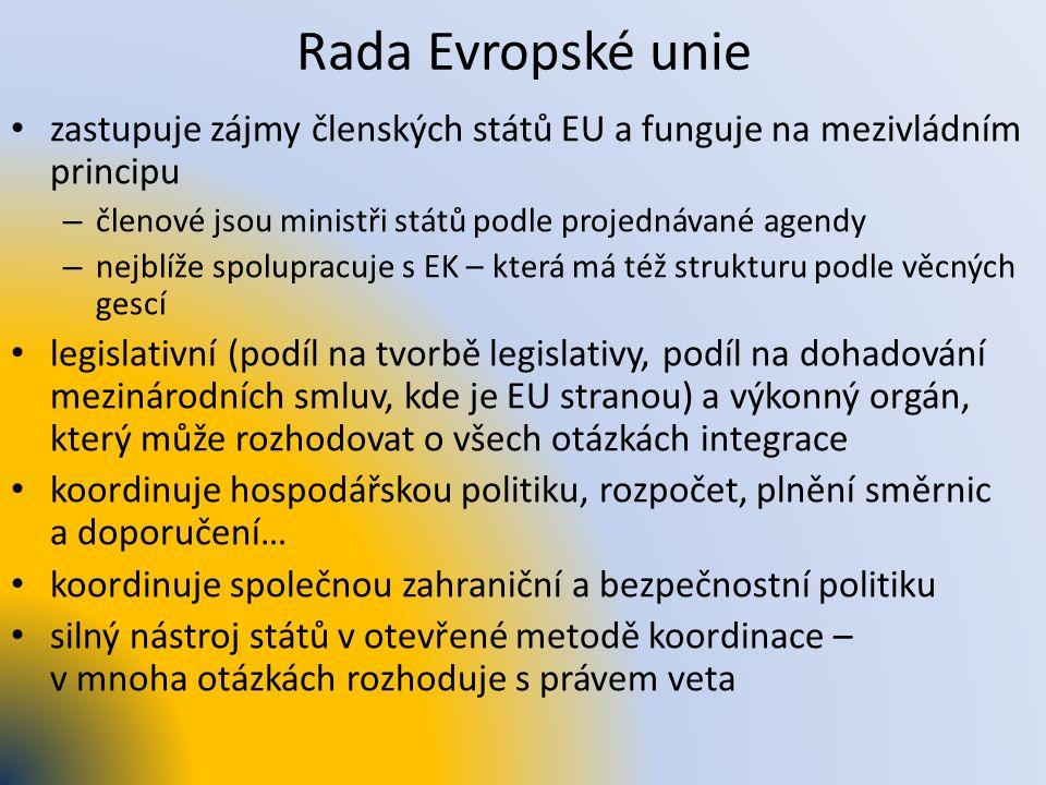 Rada Evropské unie zastupuje zájmy členských států EU a funguje na mezivládním principu – členové jsou ministři států podle projednávané agendy – nejb
