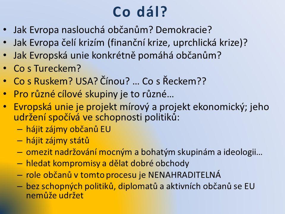 Co dál? Jak Evropa naslouchá občanům? Demokracie? Jak Evropa čelí krizím (finanční krize, uprchlická krize)? Jak Evropská unie konkrétně pomáhá občanů