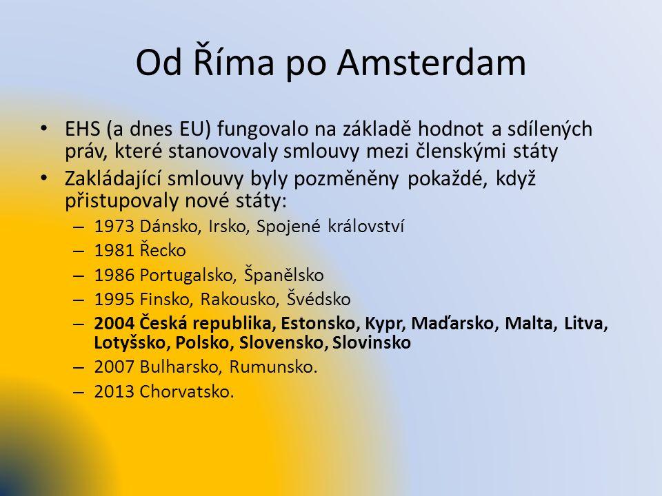 Od Říma po Amsterdam EHS (a dnes EU) fungovalo na základě hodnot a sdílených práv, které stanovovaly smlouvy mezi členskými státy Zakládající smlouvy