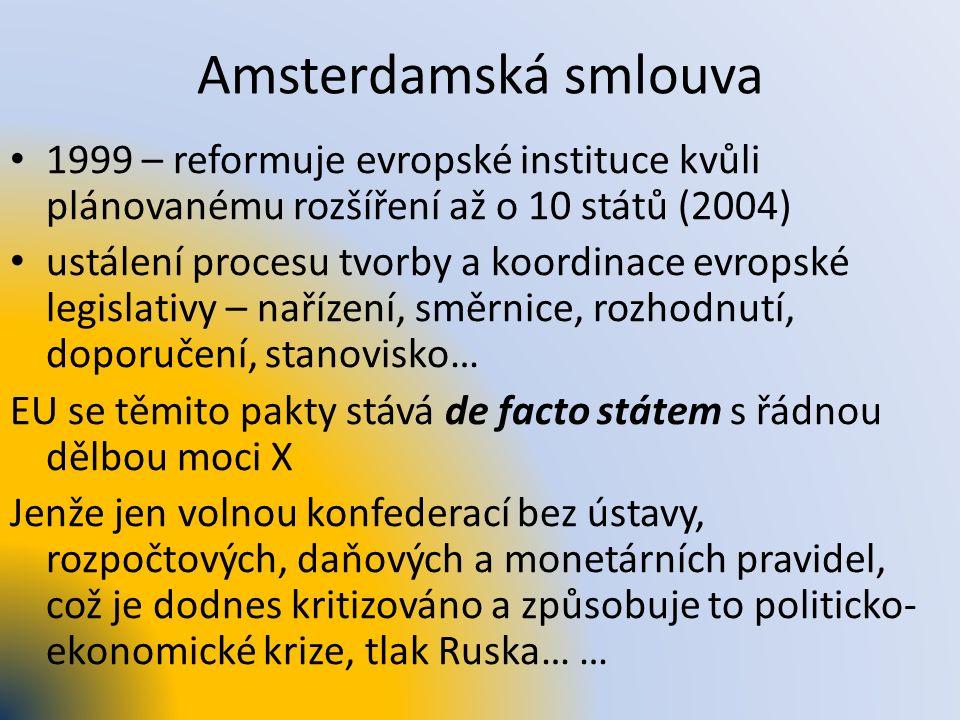 Amsterdamská smlouva 1999 – reformuje evropské instituce kvůli plánovanému rozšíření až o 10 států (2004) ustálení procesu tvorby a koordinace evropsk