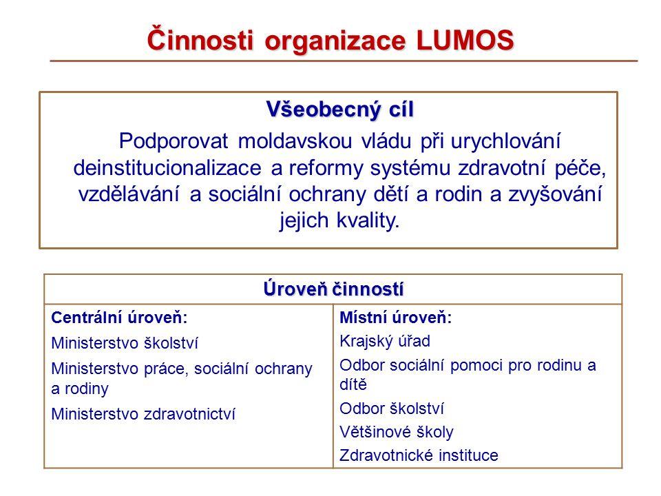 Činnosti organizace LUMOS Všeobecný cíl Podporovat moldavskou vládu při urychlování deinstitucionalizace a reformy systému zdravotní péče, vzdělávání a sociální ochrany dětí a rodin a zvyšování jejich kvality.