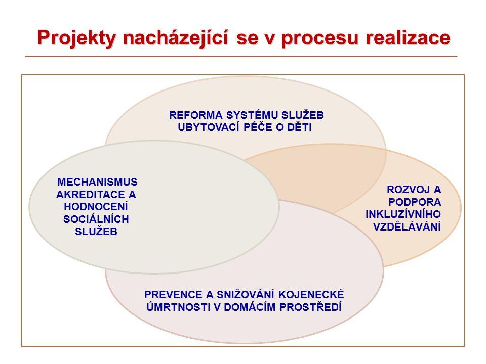 Projekty nacházející se v procesu realizace Projekty nacházející se v procesu realizace REFORMA SYSTÉMU SLUŽEB UBYTOVACÍ PÉČE O DĚTI ROZVOJ A PODPORA INKLUZÍVNÍHO VZDĚLÁVÁNÍ PREVENCE A SNIŽOVÁNÍ KOJENECKÉ ÚMRTNOSTI V DOMÁCÍM PROSTŘEDÍ MECHANISMUS AKREDITACE A HODNOCENÍ SOCIÁLNÍCH SLUŽEB