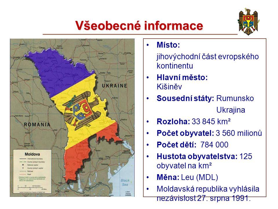 Všeobecné informace Místo: jihovýchodní část evropského kontinentu Hlavní město: Kišiněv Sousední státy: Rumunsko Ukrajina Rozloha: 33 845 km² Počet obyvatel: 3 560 milionů Počet dětí: 784 000 Hustota obyvatelstva: 125 obyvatel na km² Měna: Leu (MDL) Moldavská republika vyhlásila nezávislost 27.