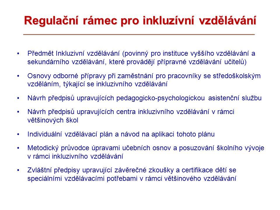 Regulační rámec pro inkluzívní vzdělávání Předmět Inkluzivní vzdělávání (povinný pro instituce vyššího vzdělávání a sekundárního vzdělávání, které provádějí přípravné vzdělávání učitelů) Osnovy odborné přípravy při zaměstnání pro pracovníky se středoškolským vzděláním, týkající se inkluzivního vzdělávání Návrh předpisů upravujících pedagogicko-psychologickou asistenční službu Návrh předpisů upravujících centra inkluzivního vzdělávání v rámci většinových škol Individuální vzdělávací plán a návod na aplikaci tohoto plánu Metodický průvodce úpravami učebních osnov a posuzování školního vývoje v rámci inkluzivního vzdělávání Zvláštní předpisy upravující závěrečné zkoušky a certifikace dětí se speciálními vzdělávacími potřebami v rámci většinového vzdělávání