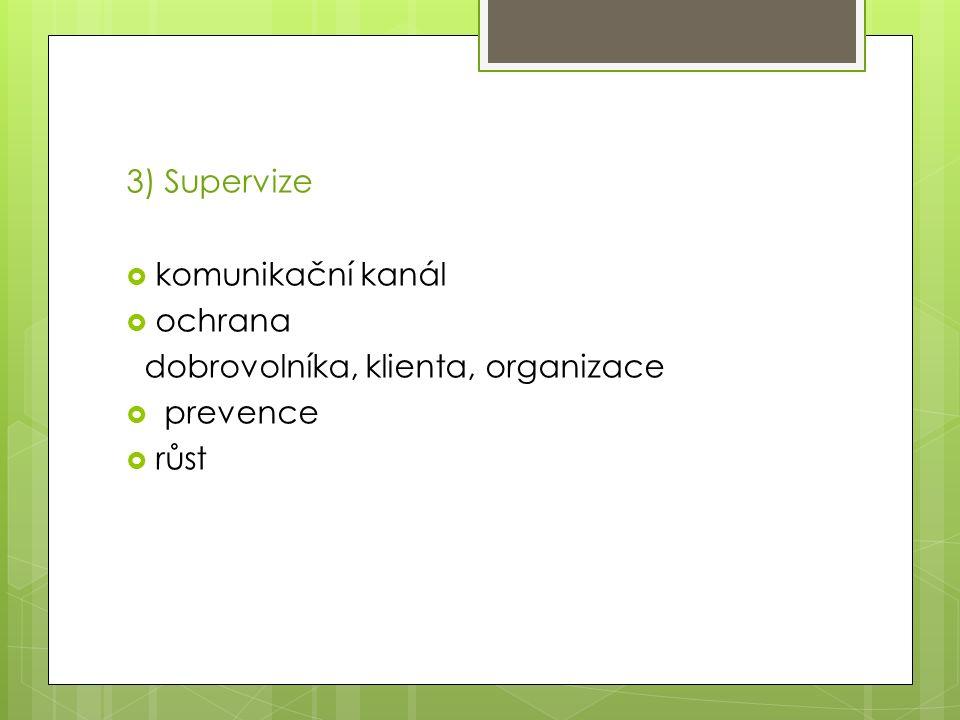 3) Supervize  komunikační kanál  ochrana dobrovolníka, klienta, organizace  prevence  růst