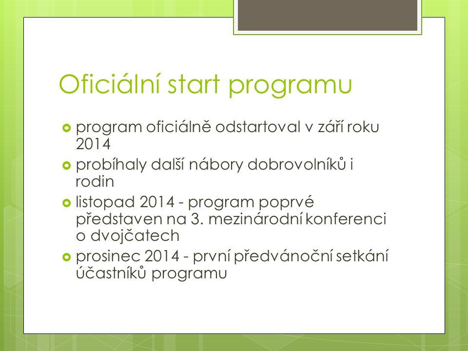 Oficiální start programu  program oficiálně odstartoval v září roku 2014  probíhaly další nábory dobrovolníků i rodin  listopad 2014 - program poprvé představen na 3.