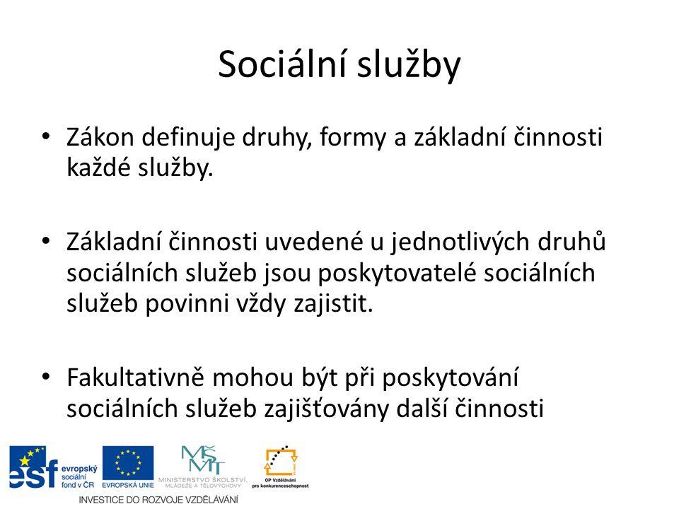 Sociální služby Zákon definuje druhy, formy a základní činnosti každé služby.